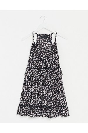 ASOS Wrap mini smock sundress with lace inserts in floral print-Multi