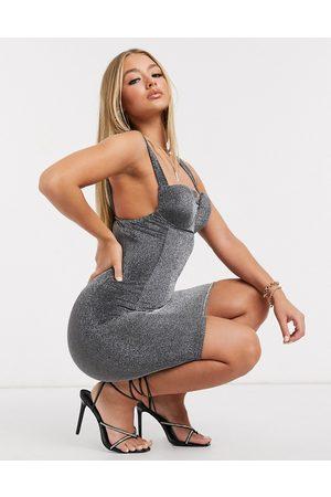 Ax Paris Metallic one shoulder midi dress-Silver