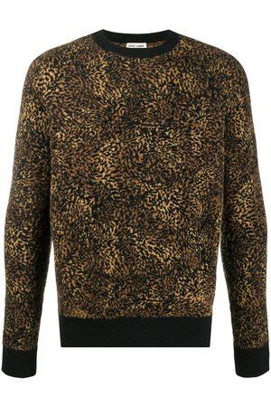 Saint Laurent Leopard jacquard jumper