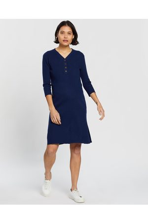 Angel Maternity Button Front Nursing Knit Ribbed Dress - Dresses (Navy) Button Front Nursing Knit Ribbed Dress