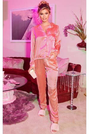 PRETTYLITTLETHING Long Striped Satin PJ Set
