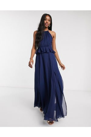 ASOS Women Maxi Dresses - Pleated halter maxi dress with ruffle waist detail in navy