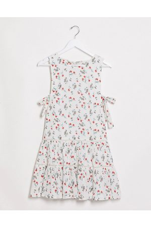 ASOS Women Summer Dresses - Tiered mini smock sundress with open back in floral print-Multi