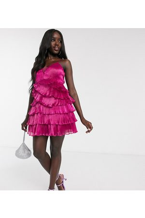 Dolly & Delicious Exclusive pleated wrap mini plunge front prom dress in fuschia-Pink