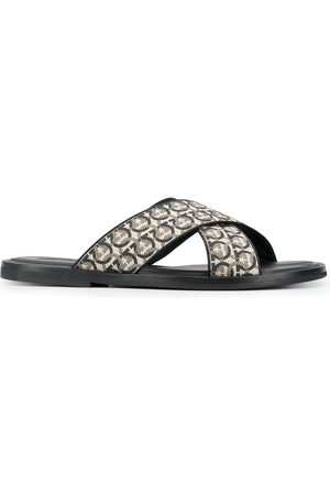 Salvatore Ferragamo Gancini printed pool slides