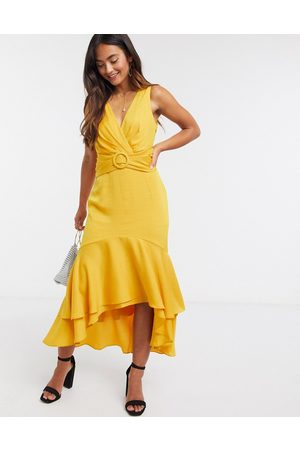 Forever New Tie back belted high low midi dress in mustard yellow