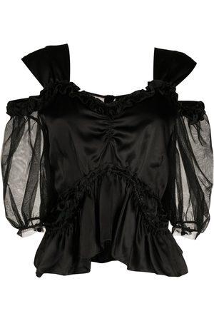 Simone Rocha Cold-shoulder ruffled blouse