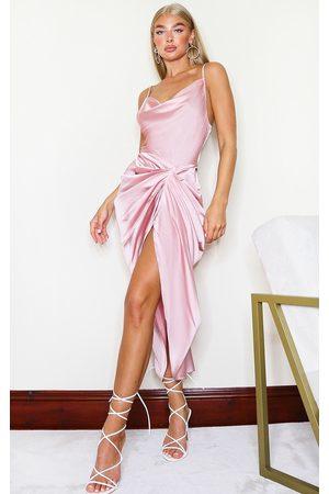 PRETTYLITTLETHING Women Midi Dresses - Rose Satin Strappy Cowl Neck Side Gathered Midi Dress
