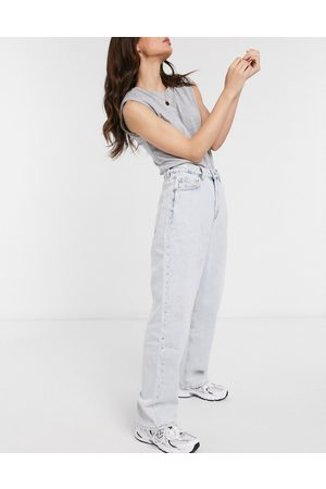 ASOS High rise 'Relaxed' dad jeans in bleach wash-Blue
