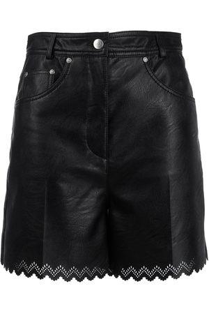 Stella McCartney Leather-effect scalloped shorts