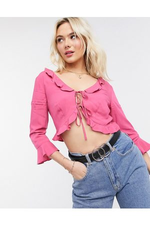 NA-KD Frill detail tie top in pink