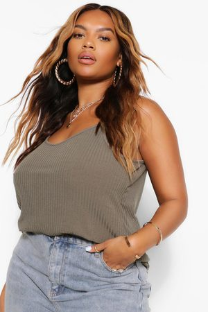 Boohoo Plus Soft Ribbed Cami- Khaki