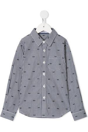 Familiar Gingham car embroidered shirt