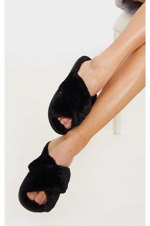 PRETTYLITTLETHING Fluffy Cross Strap Slippers
