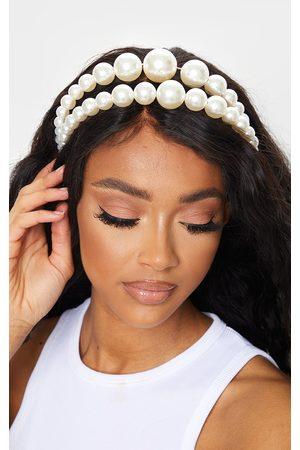 PRETTYLITTLETHING Women Headbands - Pearl Oversized Double Head Band