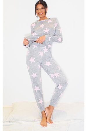 PRETTYLITTLETHING And Pink Star Print Long PJ Set