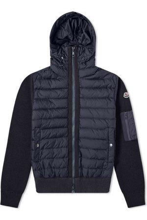 Moncler Nylon Hooded Knit Down Jacket