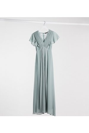 TFNC Bridesmaid lace detail maxi dress with flutter sleeve in sage-Green