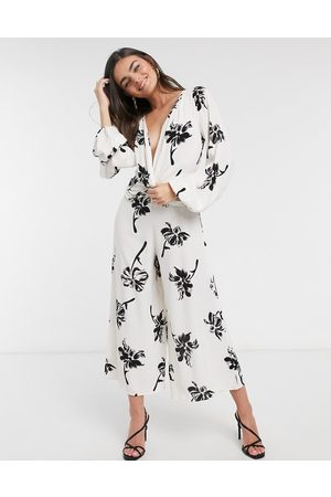 ASOS Twist front wide leg jumpsuit in cream floral print-Multi