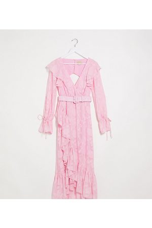 Dark Pink Belted wrap maxi dress in rose pink burnout floral
