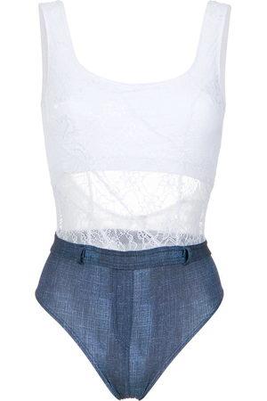 AMIR SLAMA Women Swimsuits - Lace and denim swimsuit