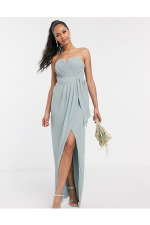 TFNC Bandeau wrap midaxi dress with pleated detail in sage-Pink
