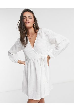 ASOS Smock oversized mini wrap dress in ivory-White