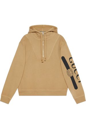 Gucci Men Hoodies - Logo print hooded sweatshirt