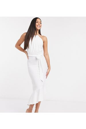 John Zack Sleeveless tiered midi dress in white-Multi