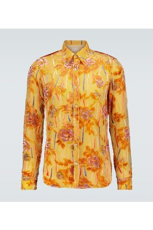 DRIES VAN NOTEN Transparent silk printed shirt