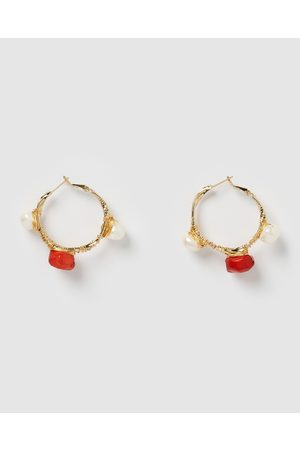 Miz Casa and Co Delilah Hoop Earrings - Jewellery ( Pearl ) Delilah Hoop Earrings