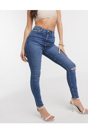 ASOS High rise ridley 'skinny' jeans with rips in midwash blue wash