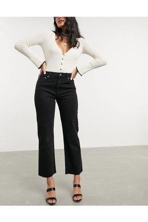 ASOS High rise stretch 'effortless' crop kick flare jeans in black