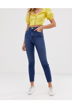 ASOS Recycled high rise farleigh 'slim' mom jeans in dark wash-Blue