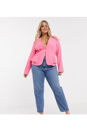 ASOS ASOS DESIGN Curve recycled high rise farleigh 'slim' mom jeans in mid vintage wash-Blue