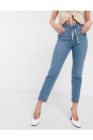 ASOS Recycled high rise farleigh 'slim' mom jeans in mid vintage wash-Blue