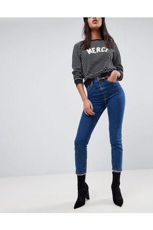 ASOS High rise farleigh 'slim' mom jeans in deep flat blue wash