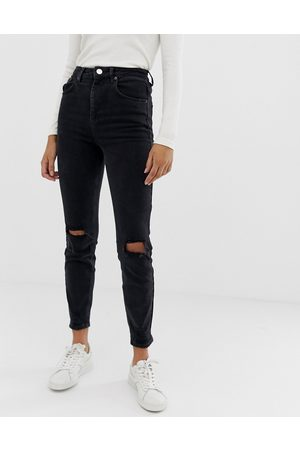 ASOS High rise farleigh 'slim' mom jeans in washed black with busted knees