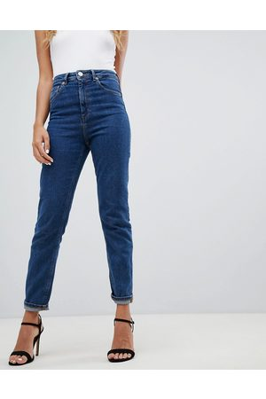 ASOS Recycled high rise farleigh 'slim' mom jeans in flat blue