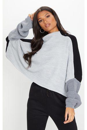 PRETTYLITTLETHING Oversized Colour Knitted Block Jumper