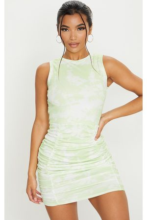 PRETTYLITTLETHING Lime Ribbed Tie Dye Ruched Sleeveless Bodycon Dress