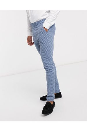 ASOS Formal Pants - Wedding super skinny wool mix suit pants in blue houndstooth check