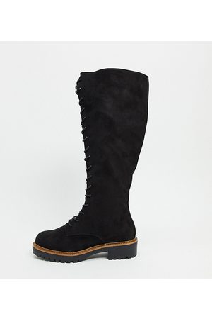 ASOS Women Knee High Boots - Wide Fit Courtney chunky lace up knee high boots-Black