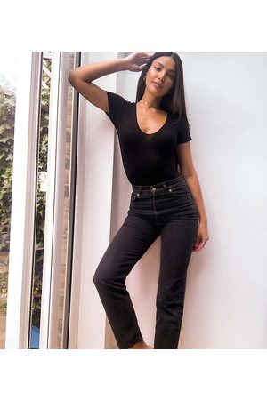 ASOS Women Bootcut & Flares - ASOS DESIGN Tall high rise stretch 'effortless' crop kick flare jeans in black