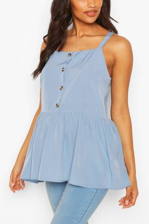 Boohoo Maternity Button Front Cami Smock Top- Pastel