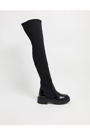 ASOS Women Knee High Boots - Keeley chunky flat over the knee boots in black