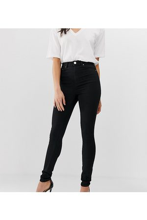 """ASOS ASOS DESIGN Tall high rise ridley """"skinny"""" jeans in clean black"""