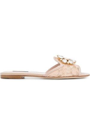 Dolce & Gabbana Women Thongs - Bianca embellished lace slides