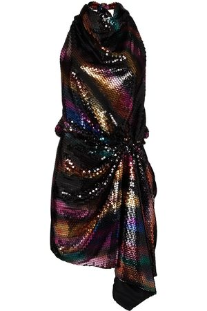 The Attico Sequinned draped halterneck dress