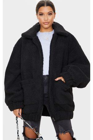 PRETTYLITTLETHING Oversized Borg Pocket Front Coat